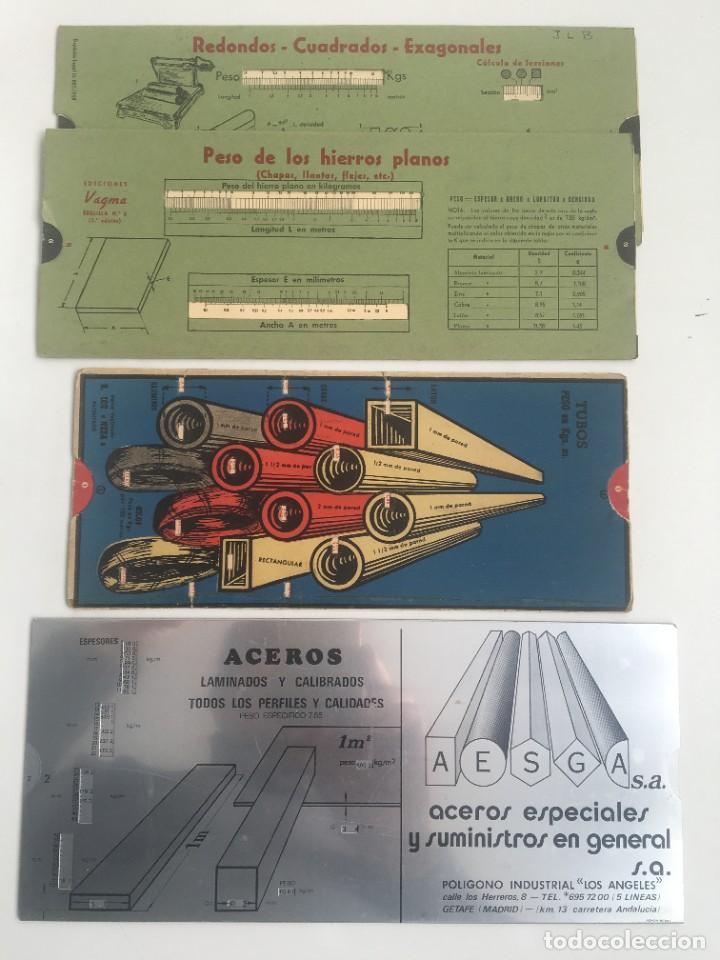 TABLAS REGLAS 3 TUBOS PERFILES PLETINAS,ACERO (Antigüedades - Técnicas - Aparatos de Cálculo - Ábacos Antiguos)