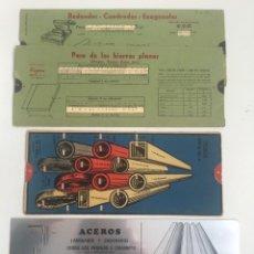 Antigüedades: TABLAS REGLAS 3 TUBOS PERFILES PLETINAS,ACERO. Lote 260040780