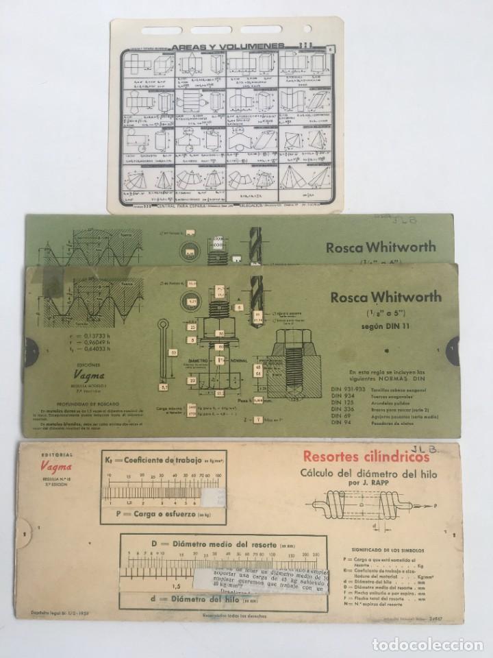 TABLAS SELECC 3 UDS ROSCAS-RESORTES-FIGURAS GEOM (Antigüedades - Técnicas - Aparatos de Cálculo - Ábacos Antiguos)