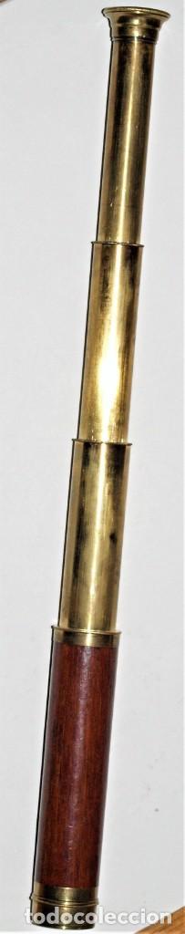 Antigüedades: Catalejo antiguo de bronce y caoba - Foto 6 - 260397285