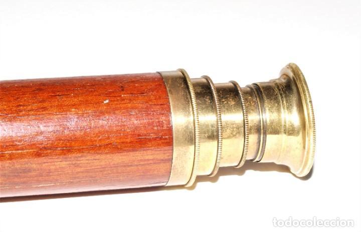 CATALEJO ANTIGUO DE BRONCE Y CAOBA (Antigüedades - Técnicas - Instrumentos Ópticos - Catalejos Antiguos)