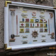 Antigüedades: CUADRO DE NUDOS Y OTROS ELEMENTOS NAVALES - NO DE SERIE - FONDO CARTA NAUTICA ALGECIRAS 61X45 + INFO. Lote 260771675