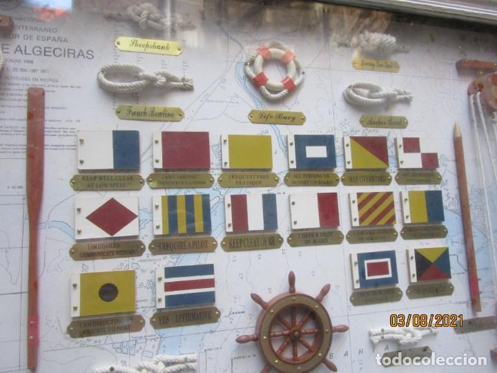 Antigüedades: CUADRO DE NUDOS Y OTROS ELEMENTOS NAVALES - NO DE SERIE - FONDO CARTA NAUTICA ALGECIRAS 61X45 + INFO - Foto 4 - 260771675