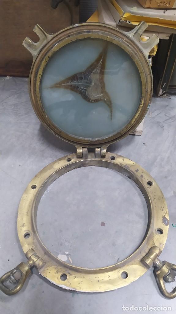Antigüedades: Ventana de barco de bronce de la fabrica LAN. La auxiliar naval. 39 cm de diametro - Foto 6 - 260811515