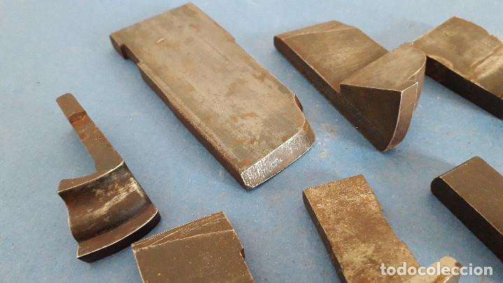 Antigüedades: lote cuchillas para molduras, acero sin marca de fabricante 9,5x4 a 5,5x1,5cm aprox - Foto 5 - 260818075