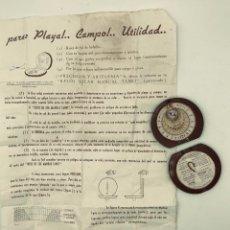 Antigüedades: RELOJ SOLAR MANUAL CON BRÚJULA TANET, BARCELONA, S. XX. INCLUYE INSTRUCCIONES DE USO.. Lote 260871195
