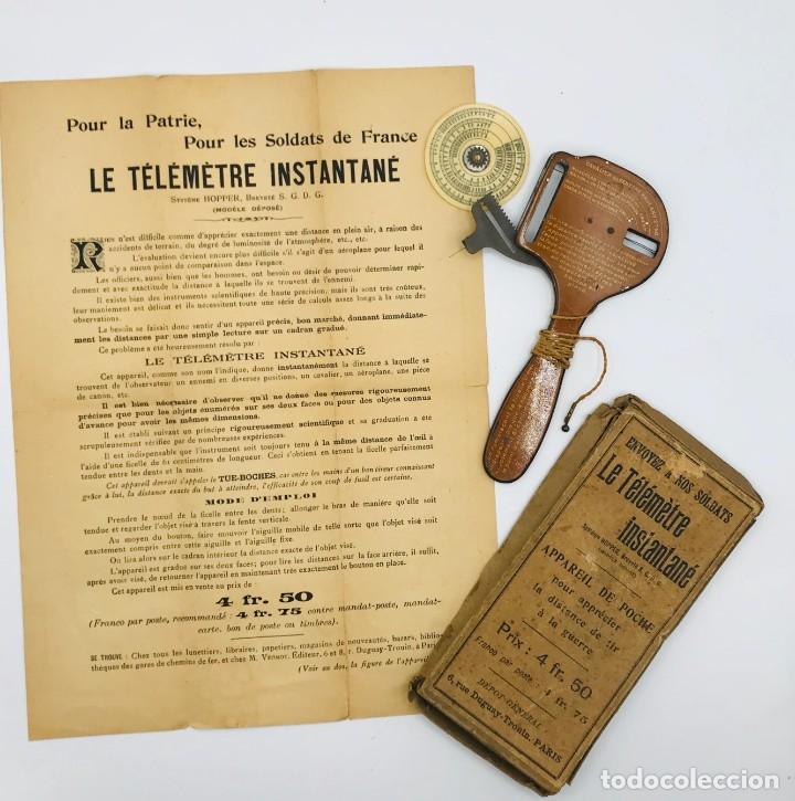 TELÉMETRO FRANCÉS CON SISTEMA HOPPER PARA MEDIR DISTANCIAS DE TIRO,COMERCIALIZADO 1ª GUERRA MUNDIAL (Antigüedades - Técnicas - Varios)