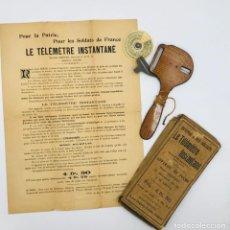 Antigüedades: TELÉMETRO FRANCÉS CON SISTEMA HOPPER PARA MEDIR DISTANCIAS DE TIRO,COMERCIALIZADO 1ª GUERRA MUNDIAL. Lote 260872020