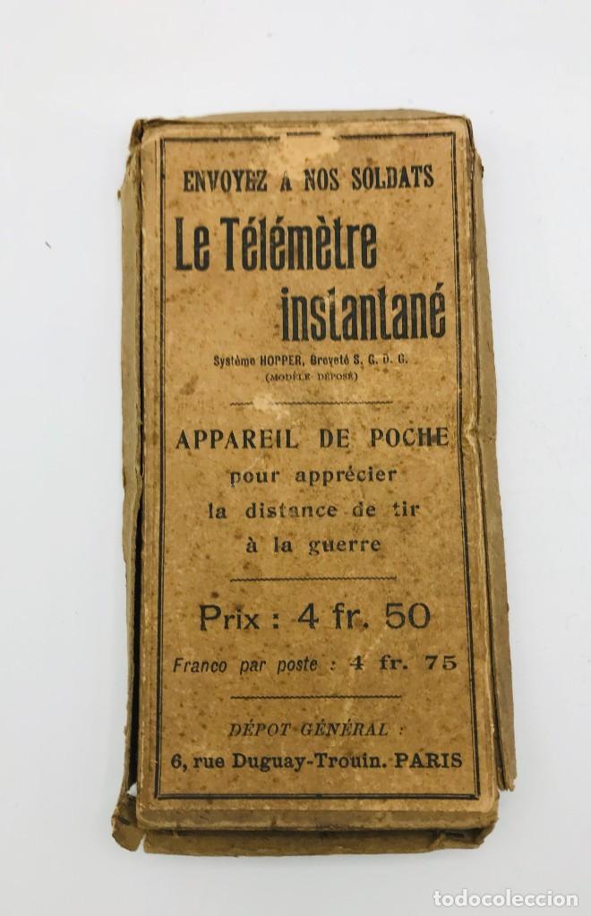 Antigüedades: Telémetro francés con sistema Hopper para medir distancias de tiro,comercializado 1ª Guerra Mundial - Foto 3 - 260872020