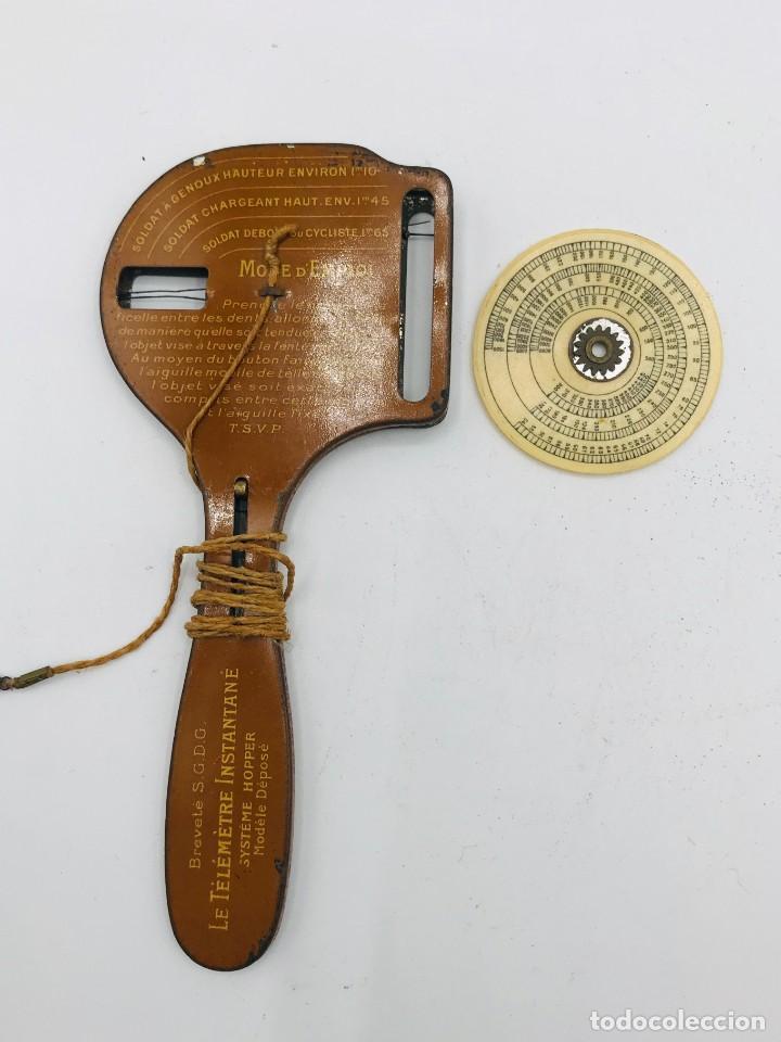 Antigüedades: Telémetro francés con sistema Hopper para medir distancias de tiro,comercializado 1ª Guerra Mundial - Foto 5 - 260872020
