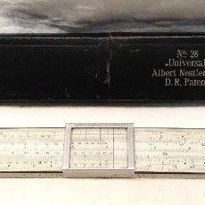 Antigüedades: UNIVERSAL REGLA DE CÁLCULO ALBERT NESTLE N° 28, MADERA LAMINADA CON MARFIL ESCALAS GRABADAS. Lote 261153320
