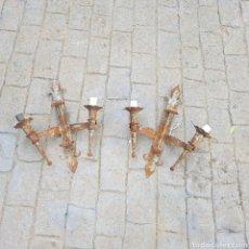 Antigüedades: LOTE DE 2 LAMPARAS HIERRO FORJADO. Lote 261226180