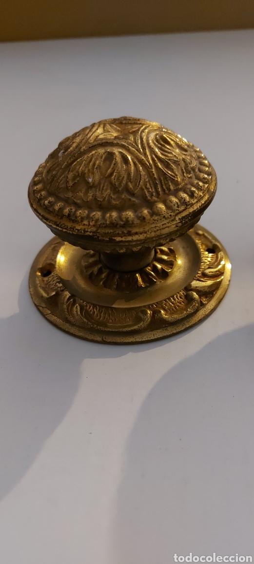 Antigüedades: POMOS DE LATÓN PARA PUERTA DE ENTRADA - Foto 5 - 261576725