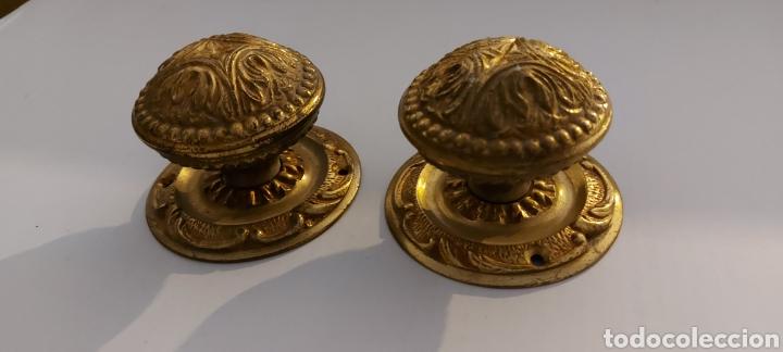 Antigüedades: POMOS DE LATÓN PARA PUERTA DE ENTRADA - Foto 6 - 261576725