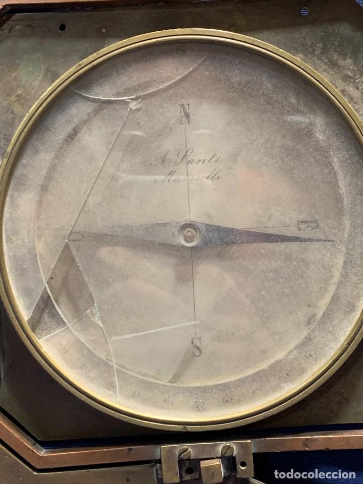 Antigüedades: BRUJULA NAUTICA MOVIL BRONCE S XIX A SANTI MARSEILLE FRANCIA 24X28CMS - Foto 2 - 261660165