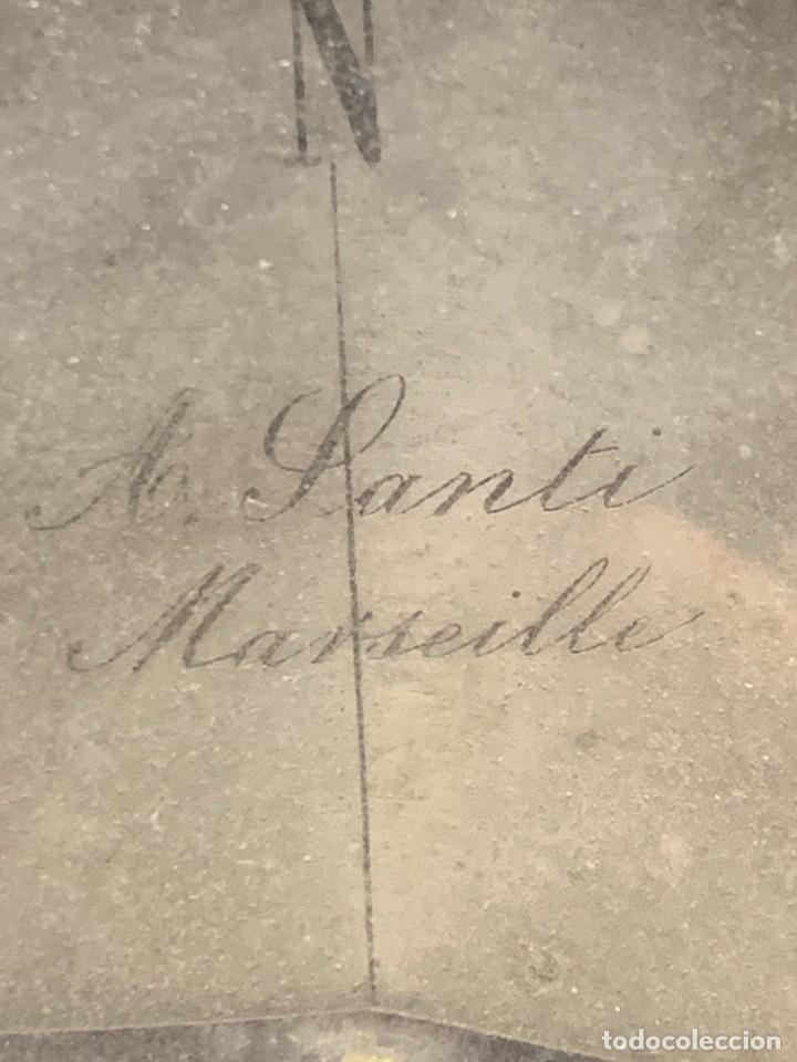 Antigüedades: BRUJULA NAUTICA MOVIL BRONCE S XIX A SANTI MARSEILLE FRANCIA 24X28CMS - Foto 3 - 261660165