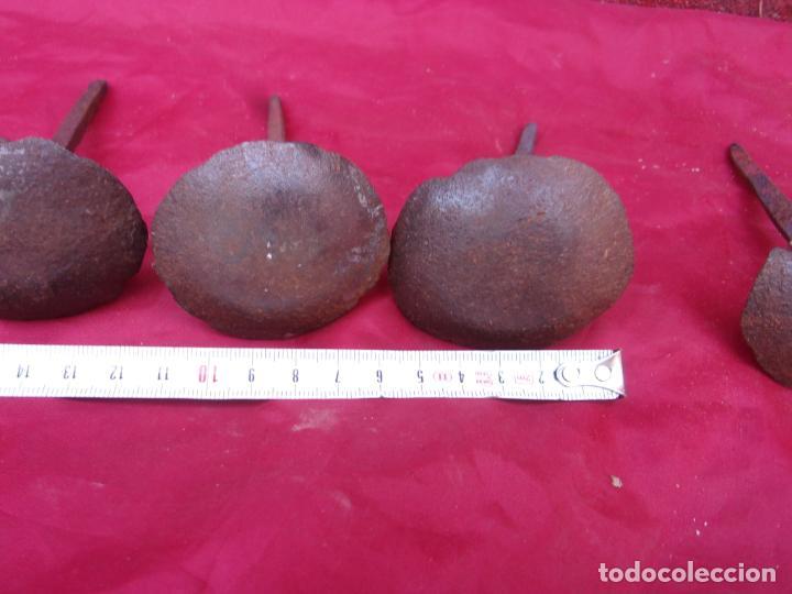 Antigüedades: lote clavos antiguos,forja,hierro,cabeza enorme - Foto 3 - 261980855