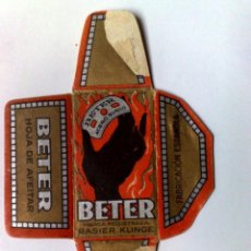 Antigüedades: FUNDA HOJA DE AFEITAR ANTIGUA,BETER ¡¡RASIER KLINGE!! MANO NEGRA.. Lote 262038560