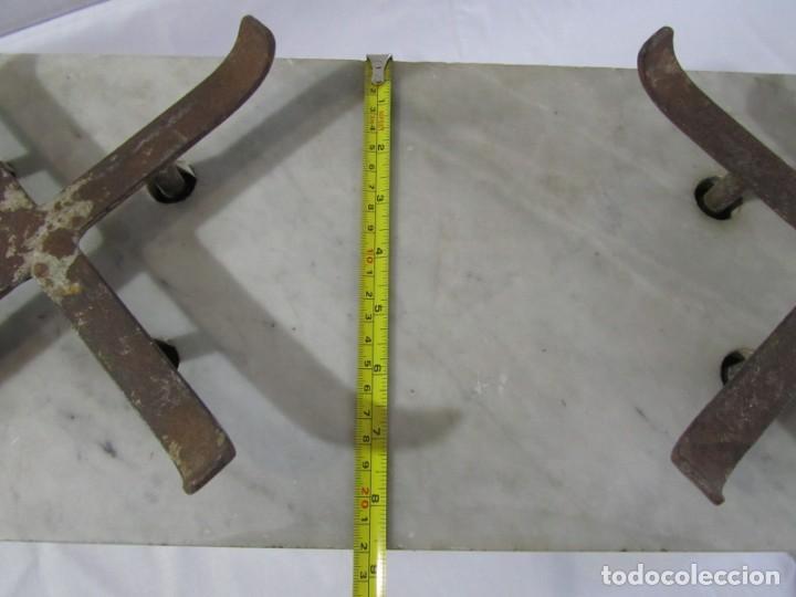 Antigüedades: Báscula o balanza madera y mármol, bandejas de latón, Alfonso García Constructor Madrid 10 kg - Foto 12 - 262059510