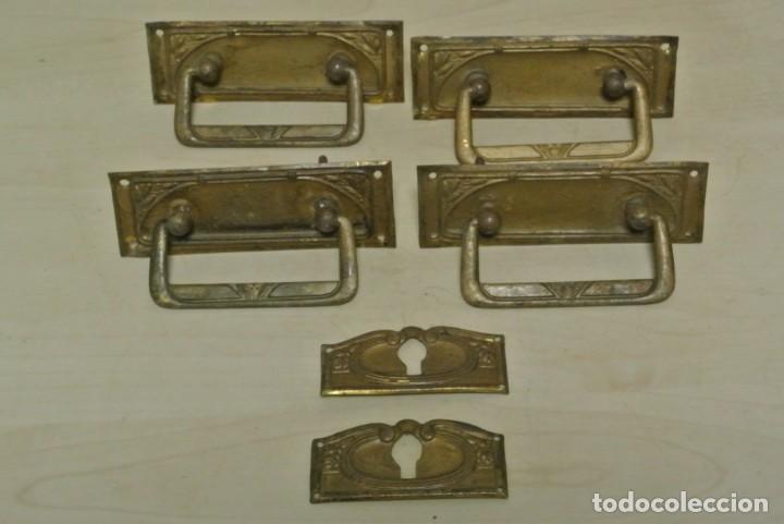 JUEGO DE CUATRO TIRADORES DE BRONCE (Antigüedades - Técnicas - Cerrajería y Forja - Tiradores Antiguos)