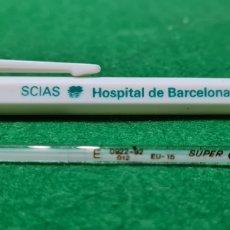 Antigüedades: TERMOMETRO DE MERCURIO SUPER CIMA. CON FUNDA CON PUBLICIDAD DEL HOSPITAL DE BARCELONA... Lote 262402050