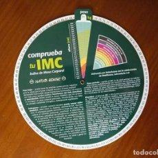 Antigüedades: REGLA DE CALCULO CIRCULAR - COMPRUEBA TU IMC INDICE DE MASA CORPORAL CHECK YOUR BMI BODY MASS INDEX. Lote 262541325