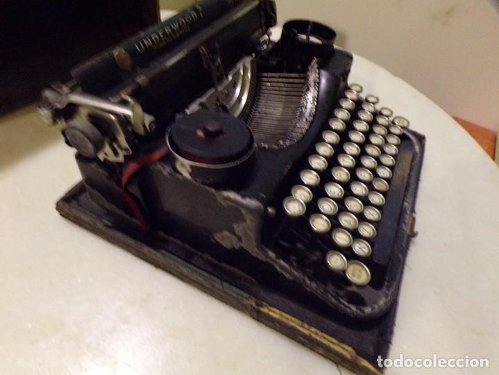Antigüedades: maquina de escribir portatil con su maleta de madera underwood - Foto 5 - 262692660