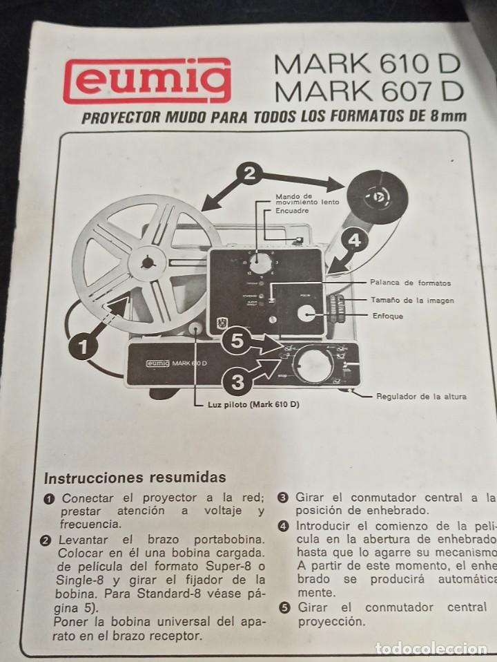 Antigüedades: Antiguo proyector de super 8. Eumig Mark 607 D. CG1 - Foto 2 - 262694150