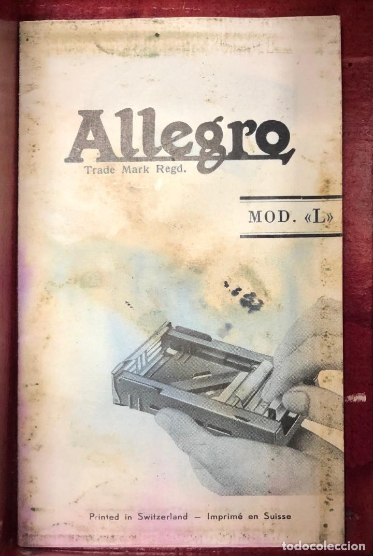 Antigüedades: ANTIGUO AFILADOR CUCHILLAS AFEITAR ALLEGRO. MOD. L. EN ESTUCHE ORIGINAL Y FOLLETO PUBLICITARIO - Foto 4 - 262733810