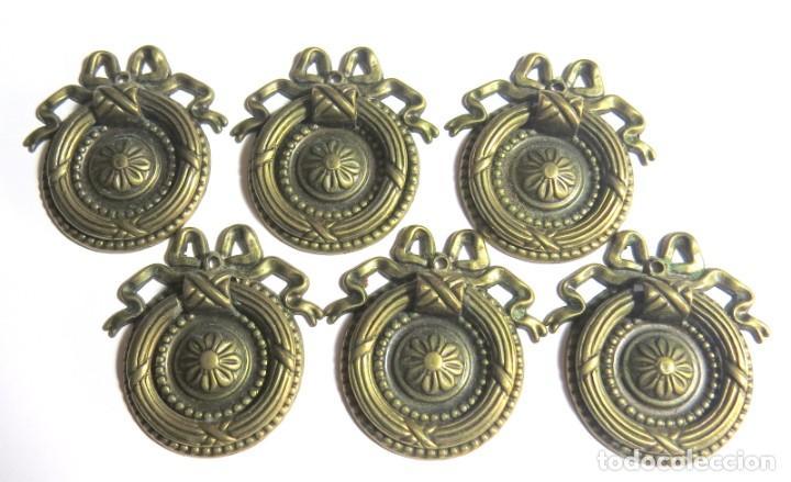 LOTE DE SEIS TIRADORES CAJONERAS (Antigüedades - Técnicas - Cerrajería y Forja - Tiradores Antiguos)