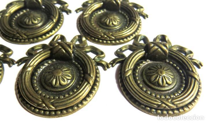 Antigüedades: LOTE DE SEIS TIRADORES CAJONERAS - Foto 6 - 262733990