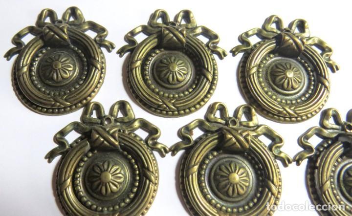 Antigüedades: LOTE DE SEIS TIRADORES CAJONERAS - Foto 8 - 262733990