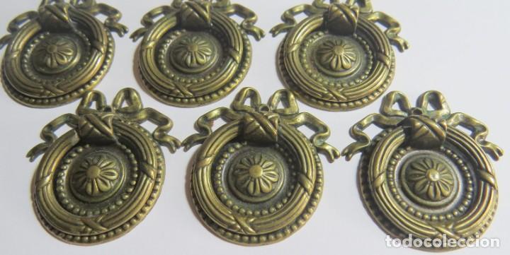 Antigüedades: LOTE DE SEIS TIRADORES CAJONERAS - Foto 9 - 262733990