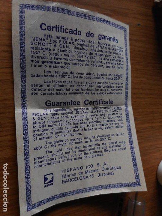 Antigüedades: ANTIGUA JERINGA HIPODERMICA CRISTAL.ICO CLARA.5 CC. HISPANO ICO S.A BARCELONA SIGLO XX - Foto 4 - 262806725