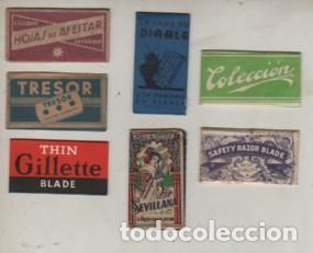 LOTE DE 7 HOJAS DE AFEITAR DISTINTAS (Antigüedades - Técnicas - Barbería - Hojas de Afeitar Antiguas)