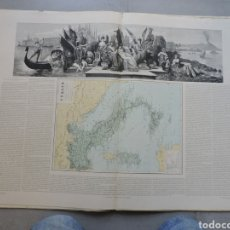 Antigüedades: MAPA DEL ATLAS GEOFRAFICA 1877 ITALIA 90×60CM. Lote 263155445