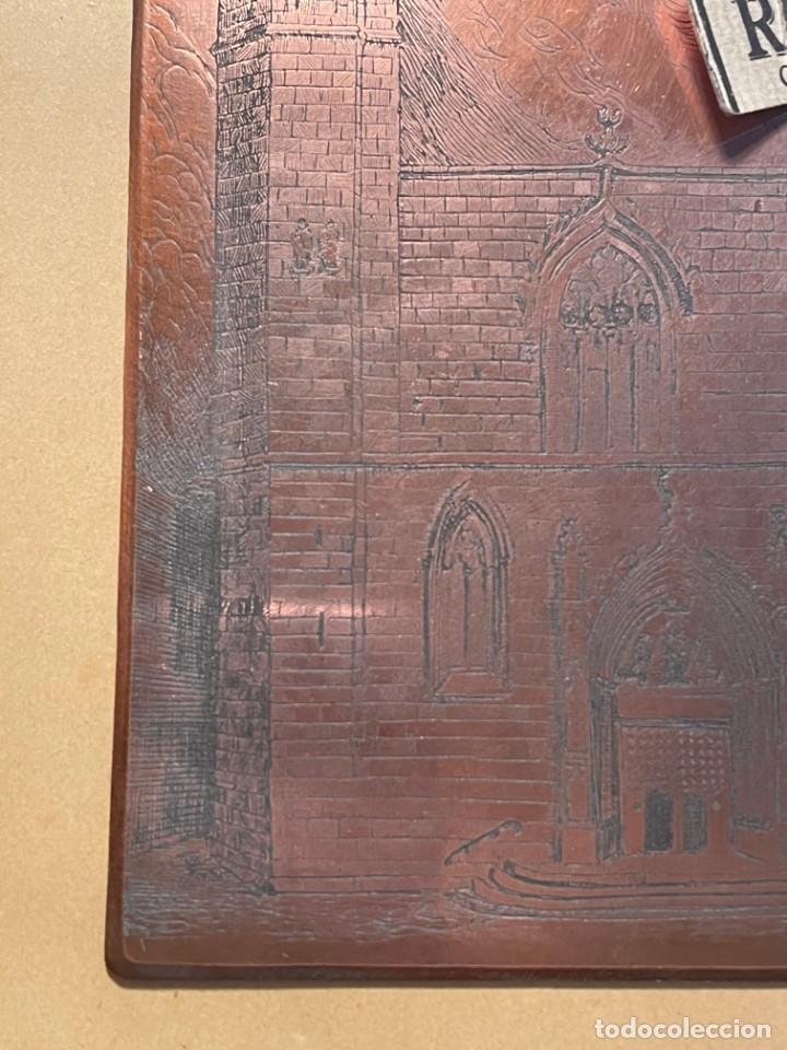 Antigüedades: IMPRENTA - BARCELONA - ANTIGUA PLANCHA DE COBRE BURILADA PARA IMPRIMIR IGLESIA SANT JUST I PASTOR - Foto 2 - 263652950