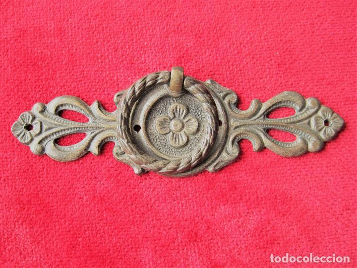 Antigüedades: 7 TIRADORES PARA CAJÓN ART NOVEAU EN BRONCE Y LATÓN, PERFECTO ESTADO - Foto 3 - 263727975