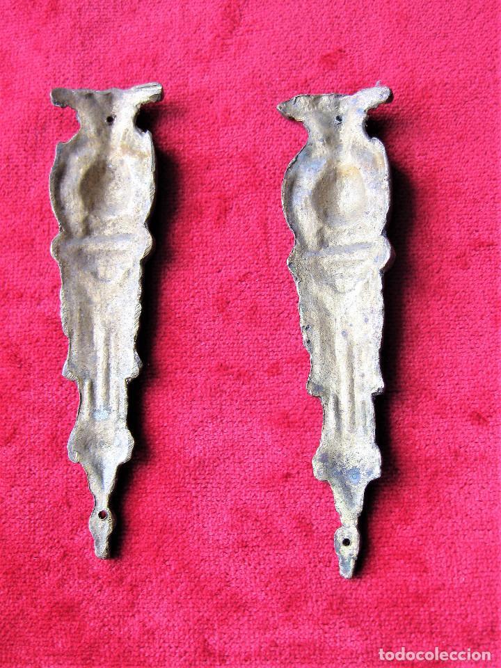 Antigüedades: 2 ANTIGUOS EMBELLECEDORES DE BRONCE MACIZO PARA MUEBLES, - Foto 2 - 263731165