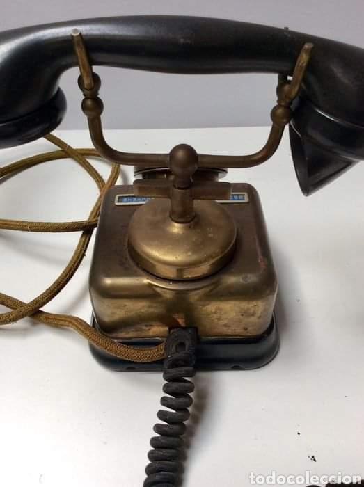 Teléfonos: Antiguo teléfono baquelita y bronce - Foto 3 - 264183376
