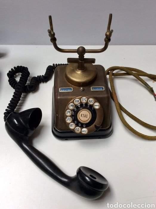 Teléfonos: Antiguo teléfono baquelita y bronce - Foto 4 - 264183376