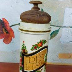 Antigüedades: TARRO ARBARELOS FARMACIA HOJAS DE ROSAS EN MADERA. Lote 264341252