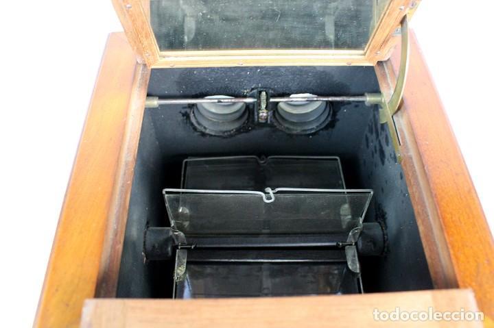 Antigüedades: ANTIGUO VISOR ESTEREOSCOPICO DE SOBREMESA + LOTE DE FOTOGRAFIAS ESTEROSCOPICAS DE CRISTAL -ORIGINAL - Foto 6 - 264780754