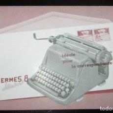 Antigüedades: CATÁLOGO DESPLEGABLE DE LA MÁQUINA DE ESCRIBIR HERMES 8 STANDARD. ORIGINAL DE 1959. EN FRANCÉS.. Lote 264956264