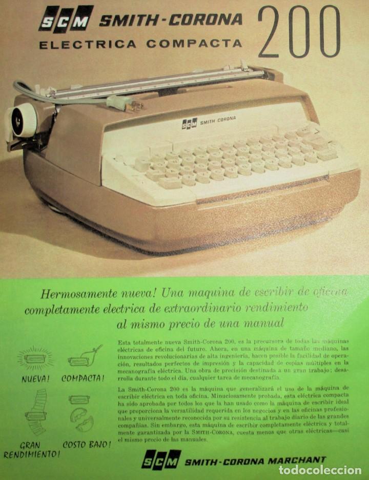 HOJA PUBLICITARIA DE LA MÁQUINA DE ESCRIBIR SMITH CORONA 200 ELÉCTRICA COMPACTA. 1964. EN ESPAÑOL. (Antigüedades - Técnicas - Máquinas de Escribir Antiguas - Smith)