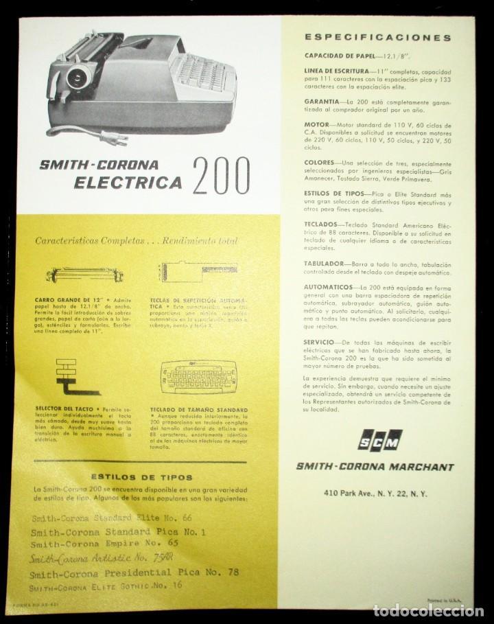 Antigüedades: HOJA PUBLICITARIA DE LA MÁQUINA DE ESCRIBIR SMITH CORONA 200 ELÉCTRICA COMPACTA. 1964. EN ESPAÑOL. - Foto 2 - 264977534
