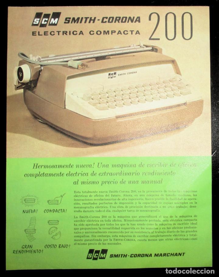 Antigüedades: HOJA PUBLICITARIA DE LA MÁQUINA DE ESCRIBIR SMITH CORONA 200 ELÉCTRICA COMPACTA. 1964. EN ESPAÑOL. - Foto 3 - 264977534
