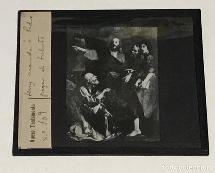 Antigüedades: 9 DIAPOSITIVAS EN CRISTAL PARA LINTERNA MÁGICA- NUEVO TESTAMENTO- PINTADAS A MANO - Foto 3 - 264986699