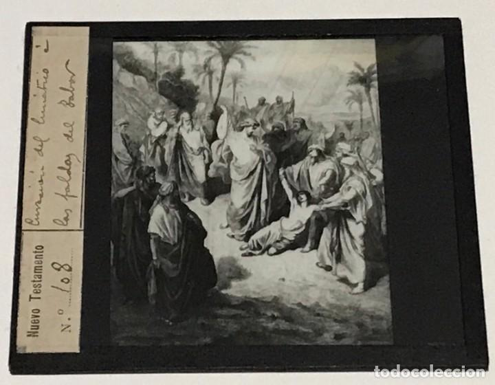 Antigüedades: 9 DIAPOSITIVAS EN CRISTAL PARA LINTERNA MÁGICA- NUEVO TESTAMENTO- PINTADAS A MANO - Foto 4 - 264986699