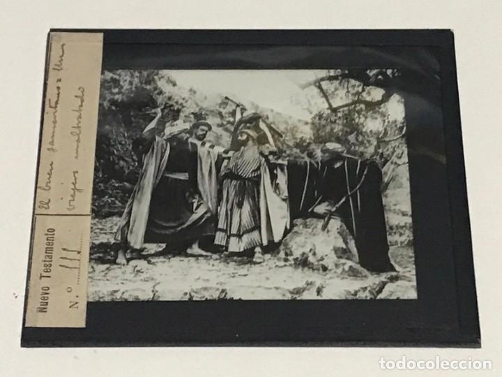 Antigüedades: 9 DIAPOSITIVAS EN CRISTAL PARA LINTERNA MÁGICA- NUEVO TESTAMENTO- PINTADAS A MANO - Foto 5 - 264986699